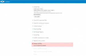 Nextcloud 18.0.7へのアップデートエラー